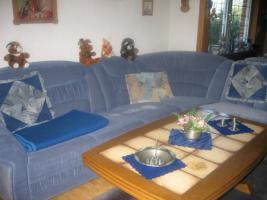 Couchgarnitur Rundecke, mit Sessel, Mikrofaser, rauchblau