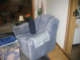 Foto 2 Couchgarnitur Rundecke, mit Sessel, Mikrofaser, rauchblau