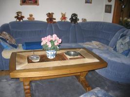 Couchgarnitur mit Sessel rauchblau Mikrofaser