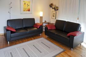 Couchgarnitur, 2teilig, Leder, schwarz