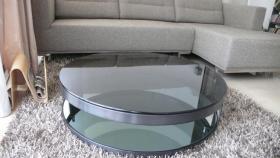 Couchtisch retro design dunkelgrau aluminium glas in for Beistelltisch 1m hoch