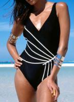 Damen Badeanzug schwarz weiße Streifen 36 38 54