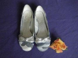 Damen-Ballerinas silber-blau Gr. 40