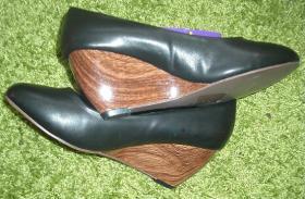 Damen Keilabsatz Schuhe Pumps Schwarz High Heels 37