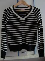 Damen-Langarmpullover, schwarz-wei� gestreift, Gr��e M