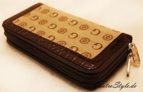 Damen Portemonnaie Gamaya in Beige mit umlaufendem Reißverschluss
