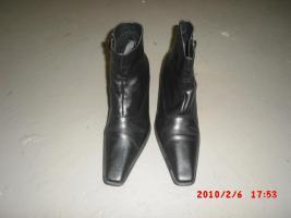 Damen Stieffeleten aus Leder Gr 39 - Schwarz