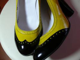 Damenpumps schwarz/gelb gr 41