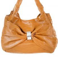 Damentasche camel mit Schleife, braun Handtasche