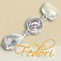 Dangle Crystal Drop 925 Sterling Silber, Zirkonia