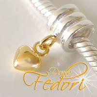 Dangle Goldenes Herz 925 Sterling Silber