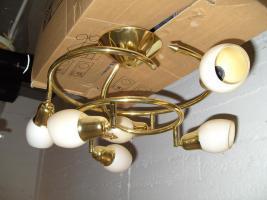 Deckenlampe vergoldet und Decken-Strahler in Weiss