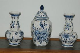 Delft Deckelvase Deckel Vase blau + 2 vase