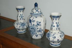 Foto 5 Delft Deckelvase Deckel Vase blau + 2 vase