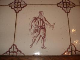 Delft Fliesen Kacheln Tisch Wohnzimmer antik violett
