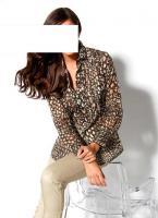 Designer-Bluse taupe-gemustert Gr. 36 - OVP - NEU