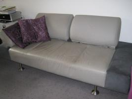 Foto 2 Designer Couch - Unikat aus Leder und Velours