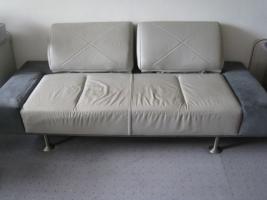 Foto 3 Designer Couch - Unikat aus Leder und Velours