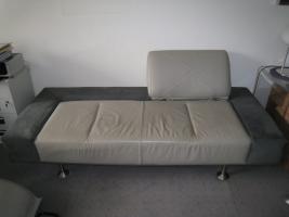 Foto 4 Designer Couch - Unikat aus Leder und Velours