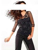 Designer-Shirt mit Pailletten schwarz Gr. 36 - OVP - NEU
