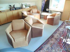 Designer Sitzgruppe bestehend aus 6 Stck. Sechsecksessel aus echtem Wildbüffelleder