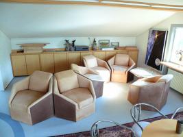 Foto 3 Designer Sitzgruppe bestehend aus 6 Stck. Sechsecksessel aus echtem Wildbüffelleder