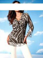 Designer-Tunika mit Perlen braun-weiß Gr. 38 - OVP - NEU