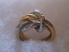 Diamant Damenring 750 Gelb-Weissgold