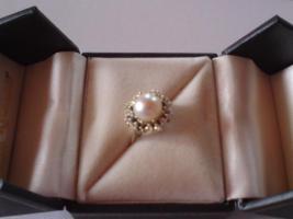 Foto 2 Diamantring mit Akoja-Zucht-Perle