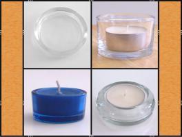 Diverse Teelichthalter, Kerzenständer aus Glas, (matt, klar, blau)