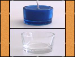 Foto 2 Diverse Teelichthalter, Kerzenständer aus Glas, (matt, klar, blau)