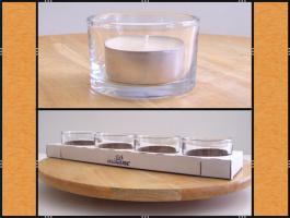 Foto 4 Diverse Teelichthalter, Kerzenständer aus Glas, (matt, klar, blau)