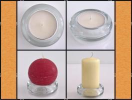 Foto 5 Diverse Teelichthalter, Kerzenständer aus Glas, (matt, klar, blau)