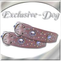 Dobermann Bulldogge Hundehalsband Lederhalsband Strasshalsband mit SWAROVSKI ELEMENTS by EXCLUSIVE-DOG