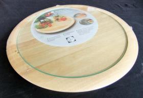 Drehteller, Drehplatte, Servierplatte aus Holz, kugelgelagert, mit Glasplatte