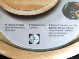 Foto 2 Drehteller, Drehplatte, Servierplatte aus Holz, kugelgelagert, mit Glasplatte