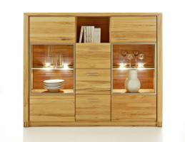 Duo Highboard mit glast�ren in Kernbuche massiv