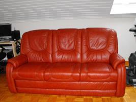 Echt Leder Sofa,3er + 2 Sessel mit Relaxfuntion, Kastanie, NP EUR 3200, - !!