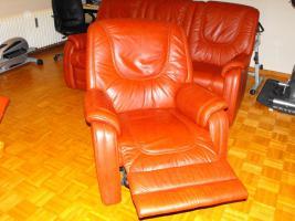 Foto 2 Echt Leder Sofa,3er + 2 Sessel mit Relaxfuntion, Kastanie, NP EUR 3200, - !!