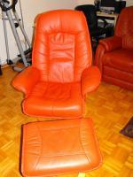 Foto 3 Echt Leder Sofa,3er + 2 Sessel mit Relaxfuntion, Kastanie, NP EUR 3200, - !!