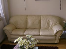 Echtleder-Garnitur: Ledercouch / -sofa 3-Sitzer + Sessel, hellgelb