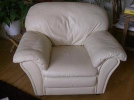 Foto 2 Echtleder-Garnitur: Ledercouch / -sofa 3-Sitzer + Sessel, hellgelb