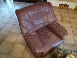 Foto 2 Echtledergarnitur (Wasserbüffel) mit Sessel