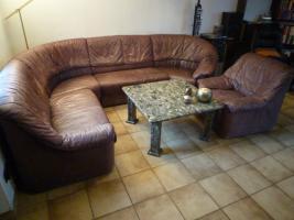 Foto 3 Echtledergarnitur (Wasserbüffel) mit Sessel