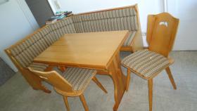 Eckbank mit Tisch und 2 Stühlen