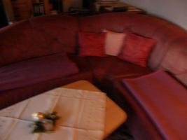 Eckchouch mit Sessel Leder bordeaux