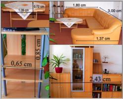 Ecksofa mit Schlaffunktion, Couchtisch, Fernsehregal, hohes Regal, Wohnwand mit Umzugsmängeln zu verschenken