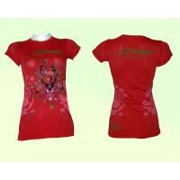 Ed Hardy Frauen T-shirt, rot - glitzert, LOVE KILLS SLOWLY