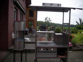 Edelstahl-Gasgrill Gas-Grill-Wagen mit Dach u.Waschgelegenheit