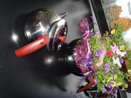 Foto 3 Edelstahl Teekanne Teekocher Teekessel, Wasserkessel als Blumentopf Übertopf